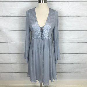 Anthropologie silver bell sleeve dress
